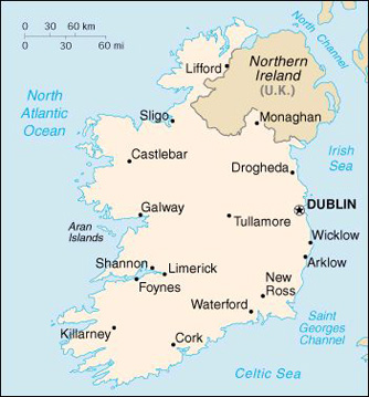Map Ireland Travel Insurance